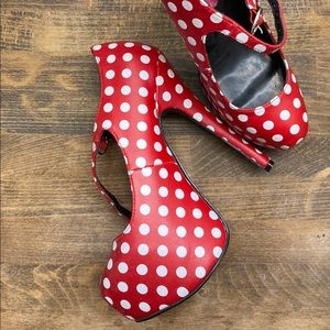 Bordello Red heels with White polka dots